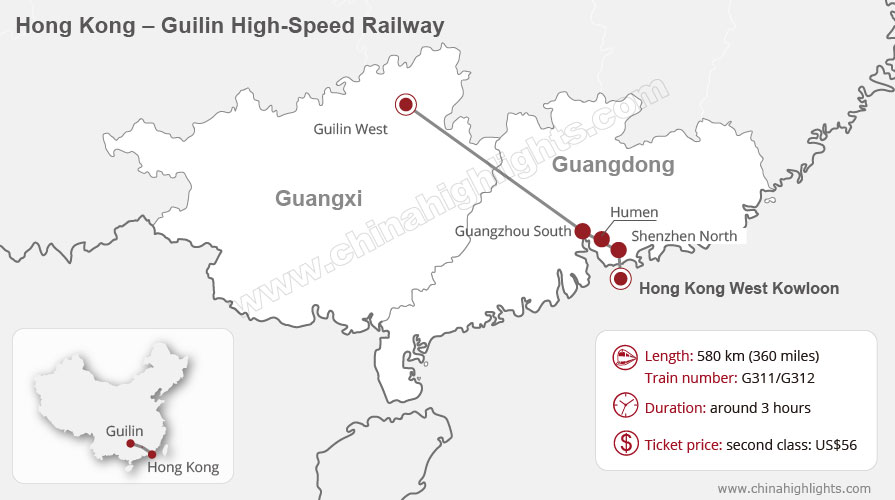 Hong Kong – Guangzhou High-Speed Rail Map