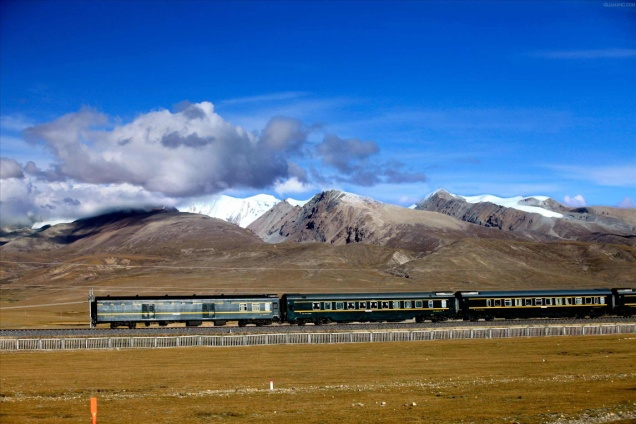 A train operating in Tibet