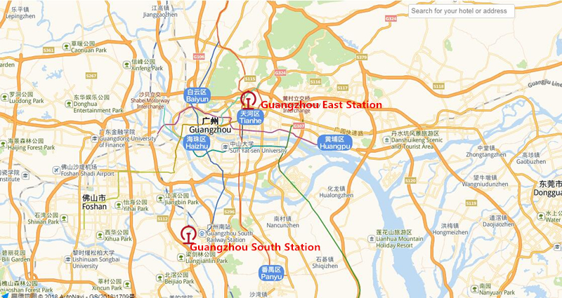 The location of the two railway stations in Guangzhou