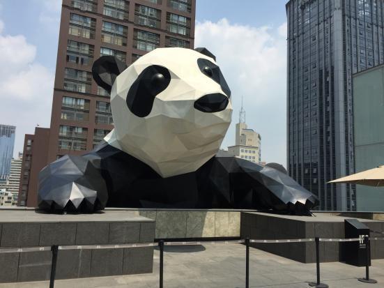 """Panda Climbing the Building"" is the landmark of Chunxi Road"