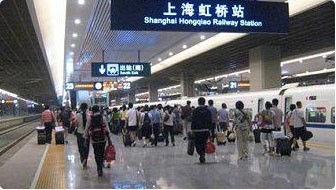 The platform in Shanghai Hongqiao Railway Station