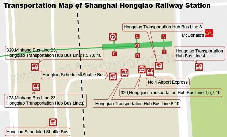 Shanghai Hongqiao Railway Station's bus map