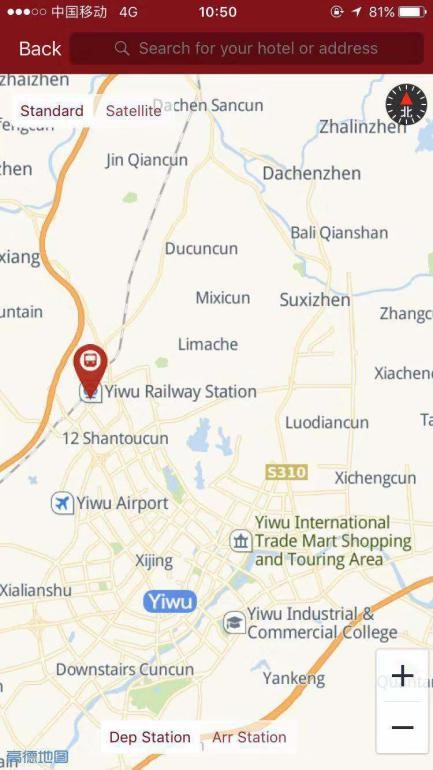 Yiwu Railway Station Map